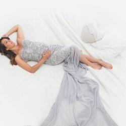 Création robe grossesse modèle Andromède mousseline de soie