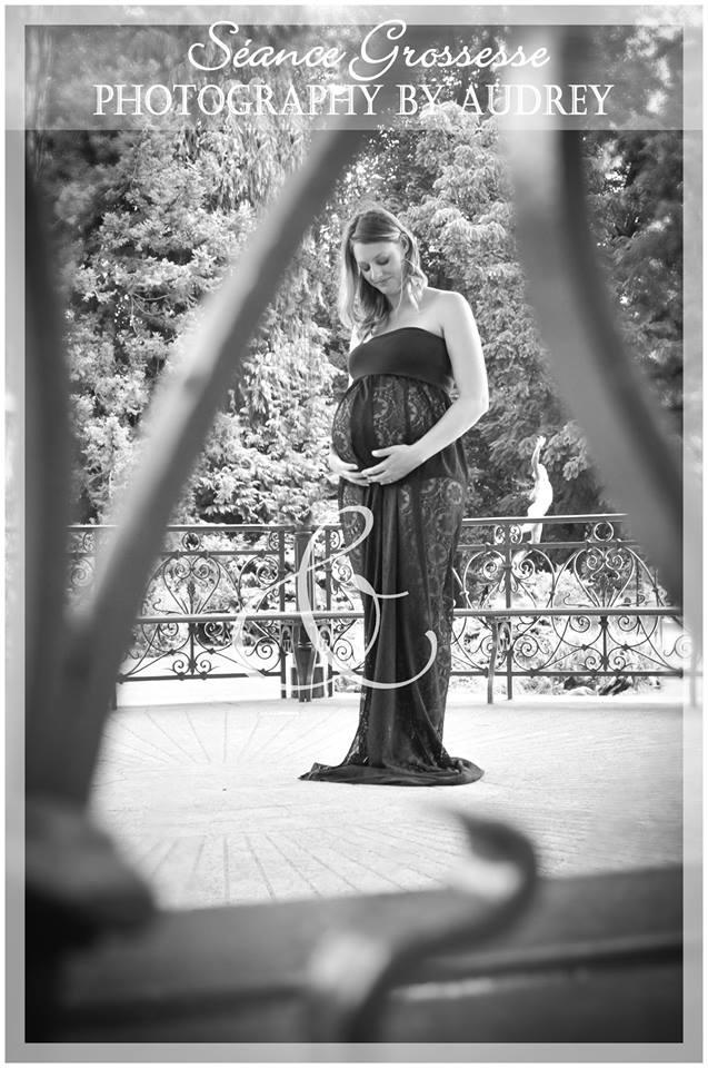 robe dentelle noire shooting grossesse