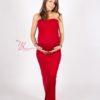 Robe rouge évasée shooting grossesse