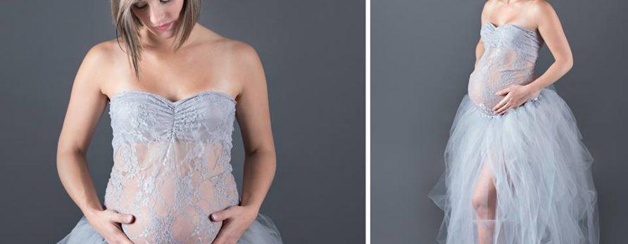 Création robe grossesse Nébuleuse en dentelle et tulle