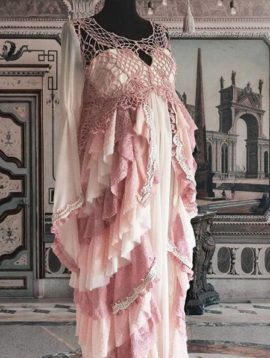 robe grossesse bohème vieux rose