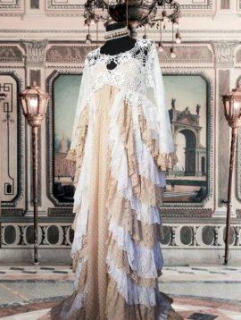 robe boho dentelle crochet blanche beige